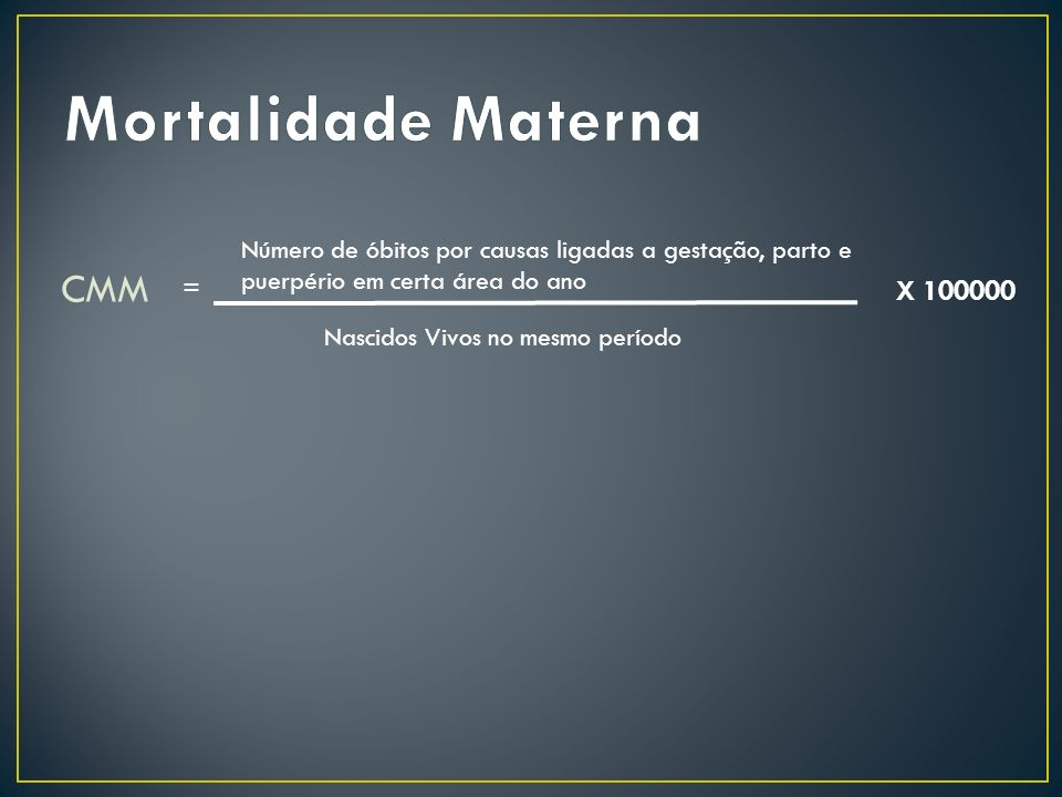 Mortalidade Materna CMM X 100000