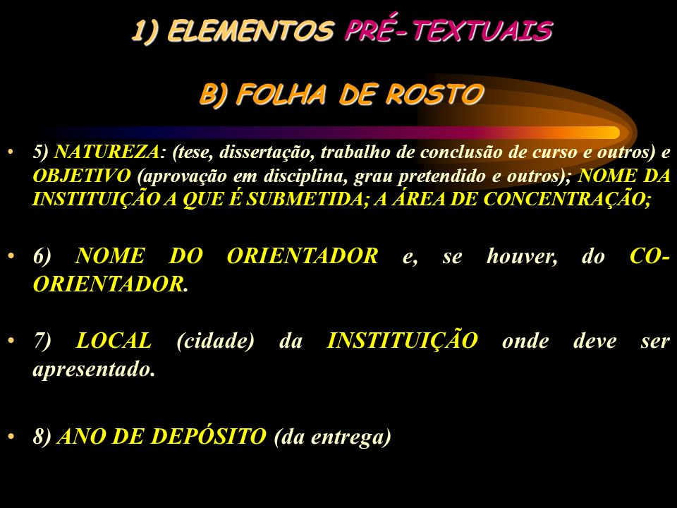 ELEMENTOS PRÉ-TEXTUAIS B) FOLHA DE ROSTO