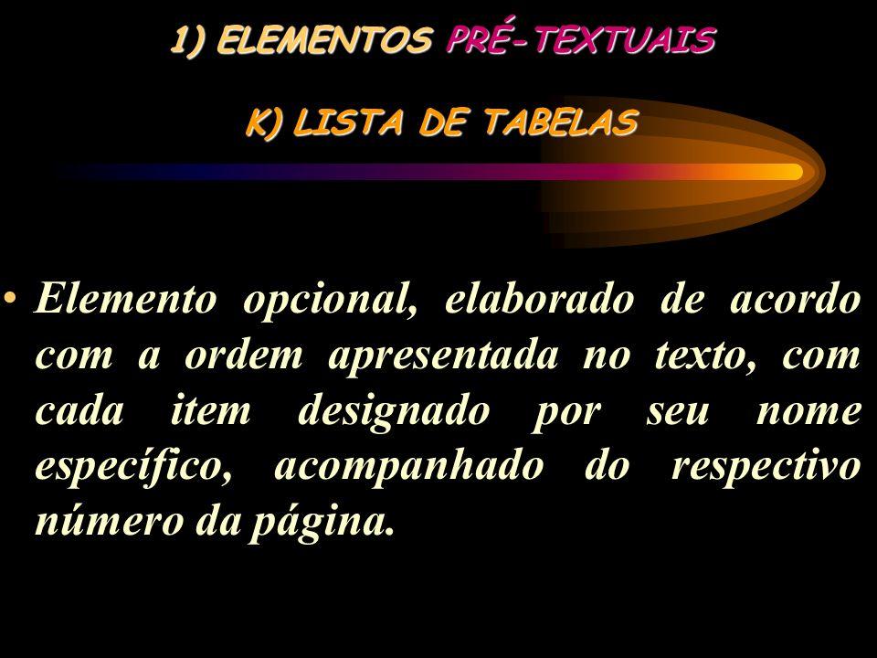 ELEMENTOS PRÉ-TEXTUAIS K) LISTA DE TABELAS