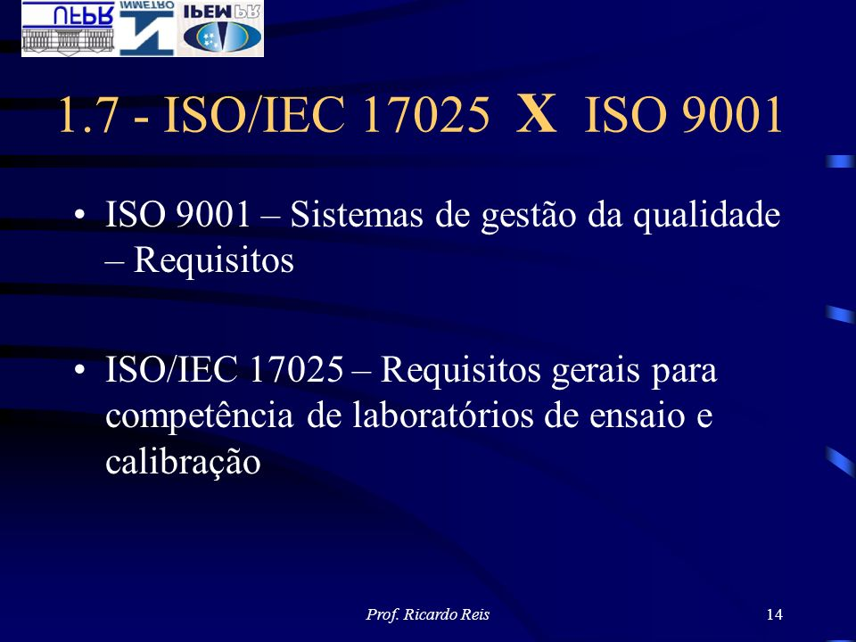 1.7 - ISO/IEC 17025 X ISO 9001 ISO 9001 – Sistemas de gestão da qualidade – Requisitos.