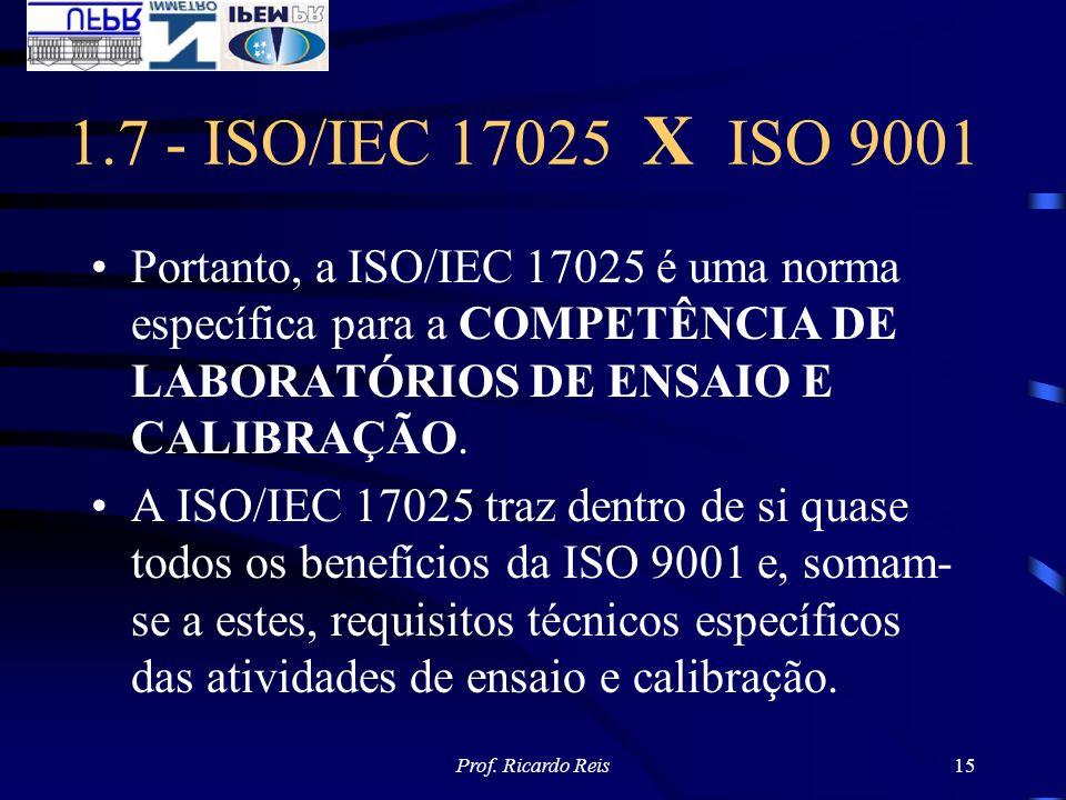 1.7 - ISO/IEC 17025 X ISO 9001 Portanto, a ISO/IEC 17025 é uma norma específica para a COMPETÊNCIA DE LABORATÓRIOS DE ENSAIO E CALIBRAÇÃO.