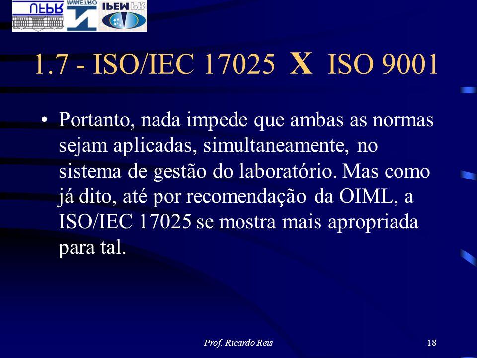 1.7 - ISO/IEC 17025 X ISO 9001