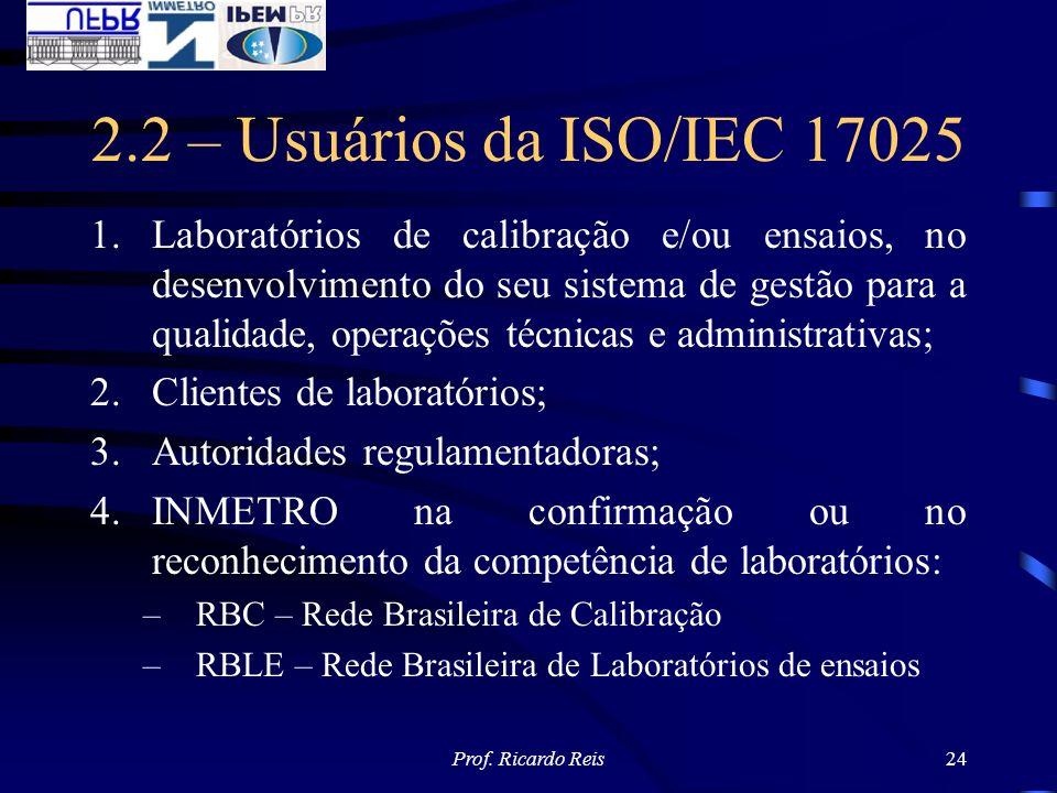 2.2 – Usuários da ISO/IEC 17025