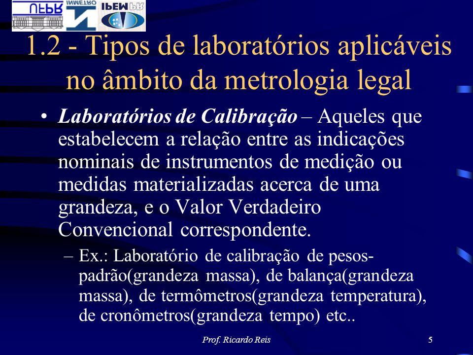 1.2 - Tipos de laboratórios aplicáveis no âmbito da metrologia legal