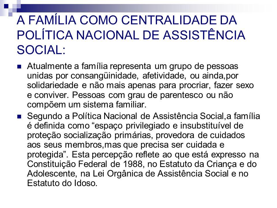 A FAMÍLIA COMO CENTRALIDADE DA POLÍTICA NACIONAL DE ASSISTÊNCIA SOCIAL: