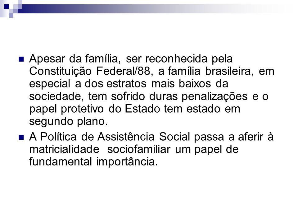 Apesar da família, ser reconhecida pela Constituição Federal/88, a família brasileira, em especial a dos estratos mais baixos da sociedade, tem sofrido duras penalizações e o papel protetivo do Estado tem estado em segundo plano.
