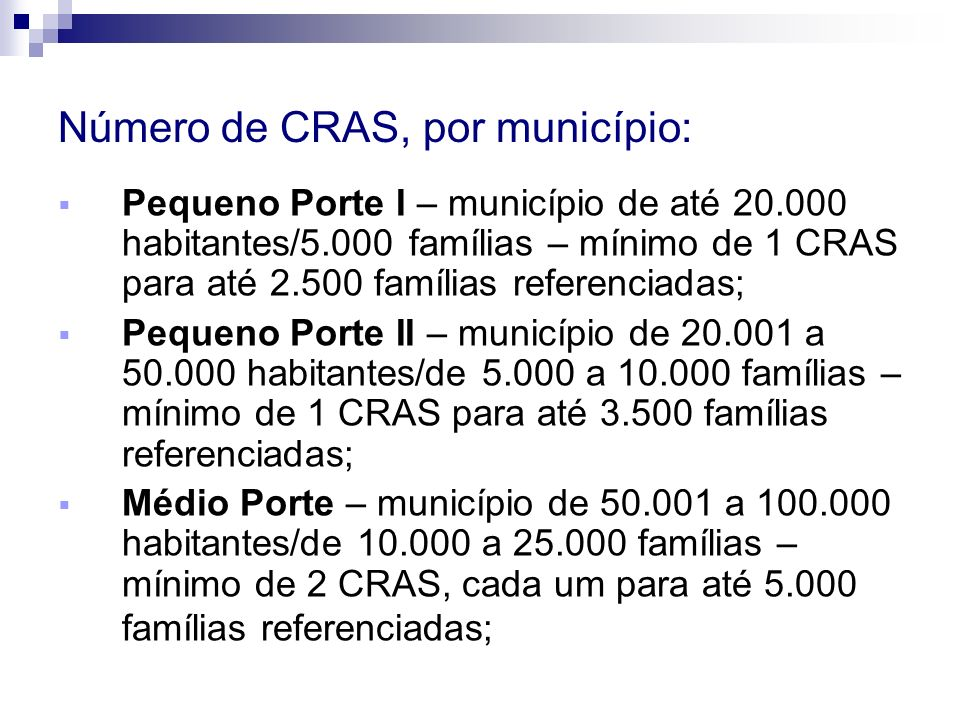 Número de CRAS, por município: