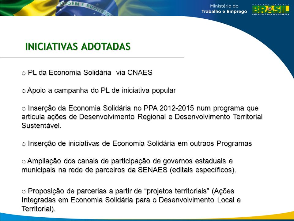 INICIATIVAS ADOTADAS PL da Economia Solidária via CNAES