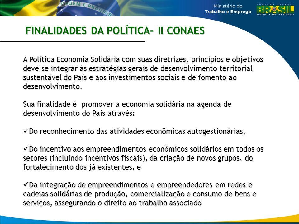 FINALIDADES DA POLÍTICA– II CONAES