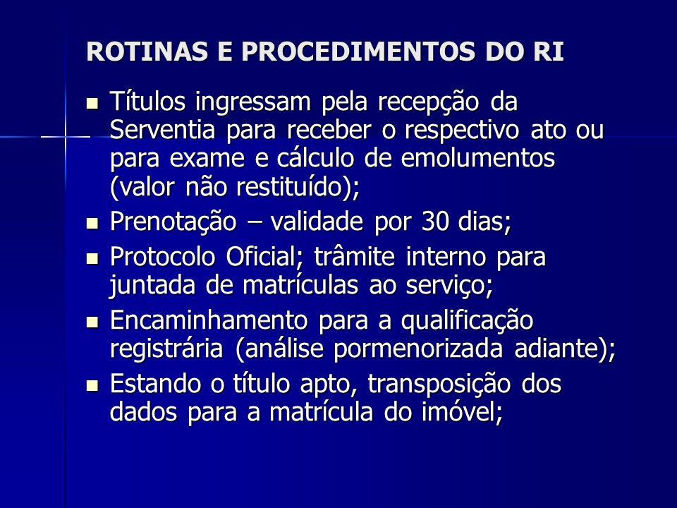 ROTINAS E PROCEDIMENTOS DO RI