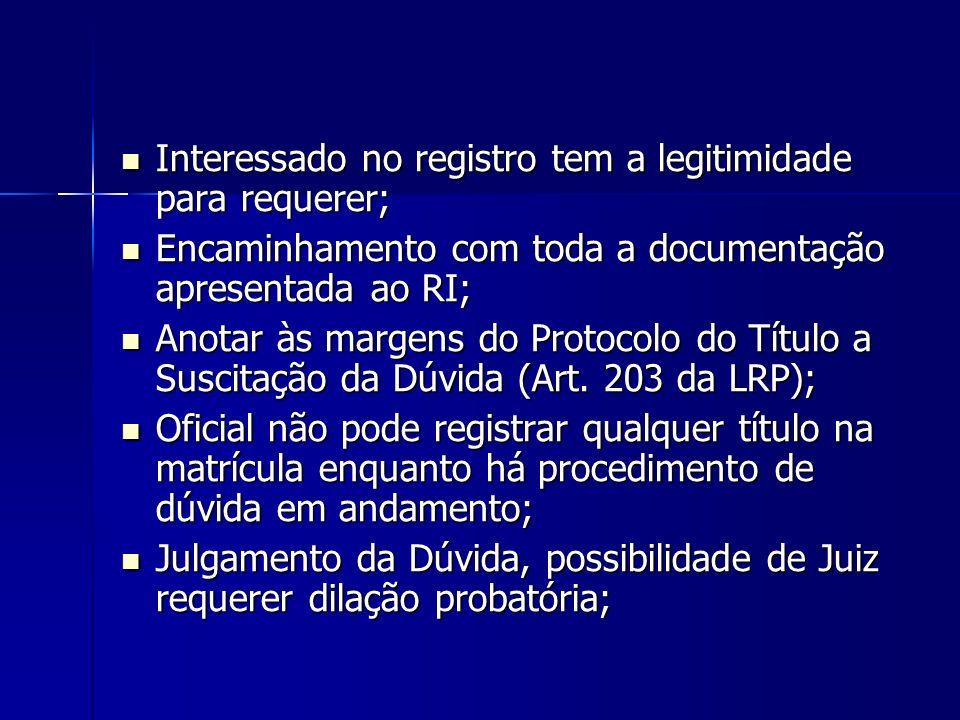Interessado no registro tem a legitimidade para requerer;
