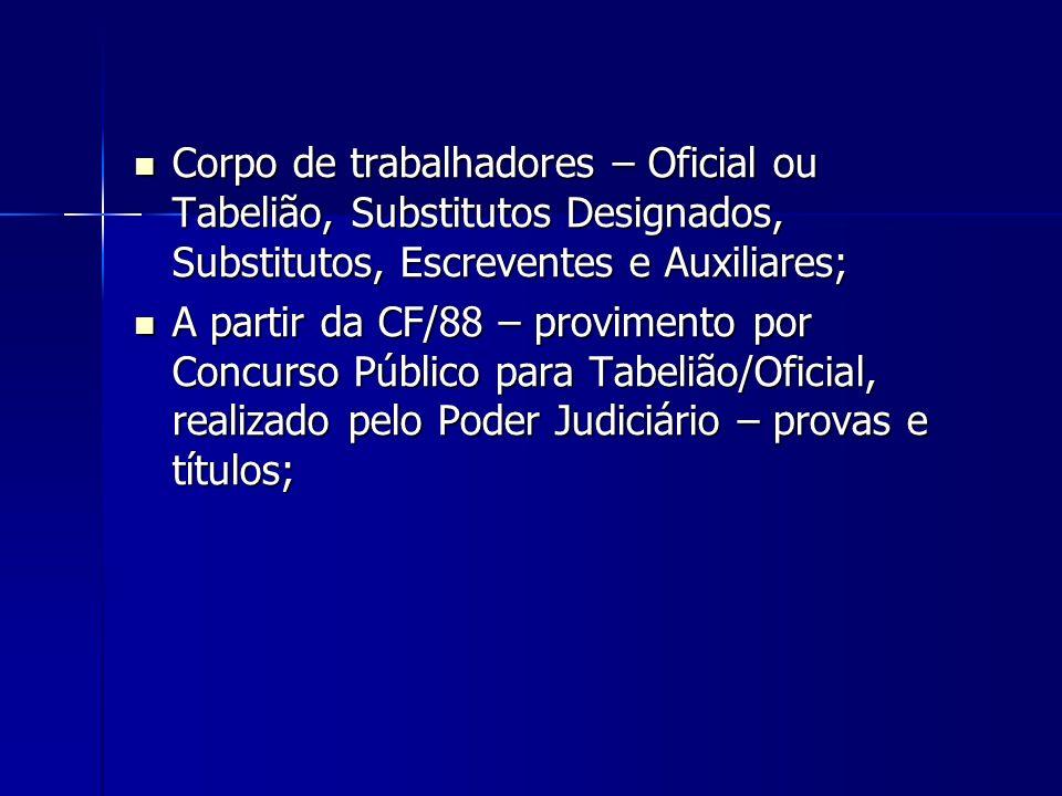 Corpo de trabalhadores – Oficial ou Tabelião, Substitutos Designados, Substitutos, Escreventes e Auxiliares;