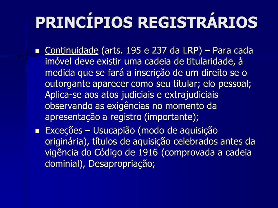 PRINCÍPIOS REGISTRÁRIOS