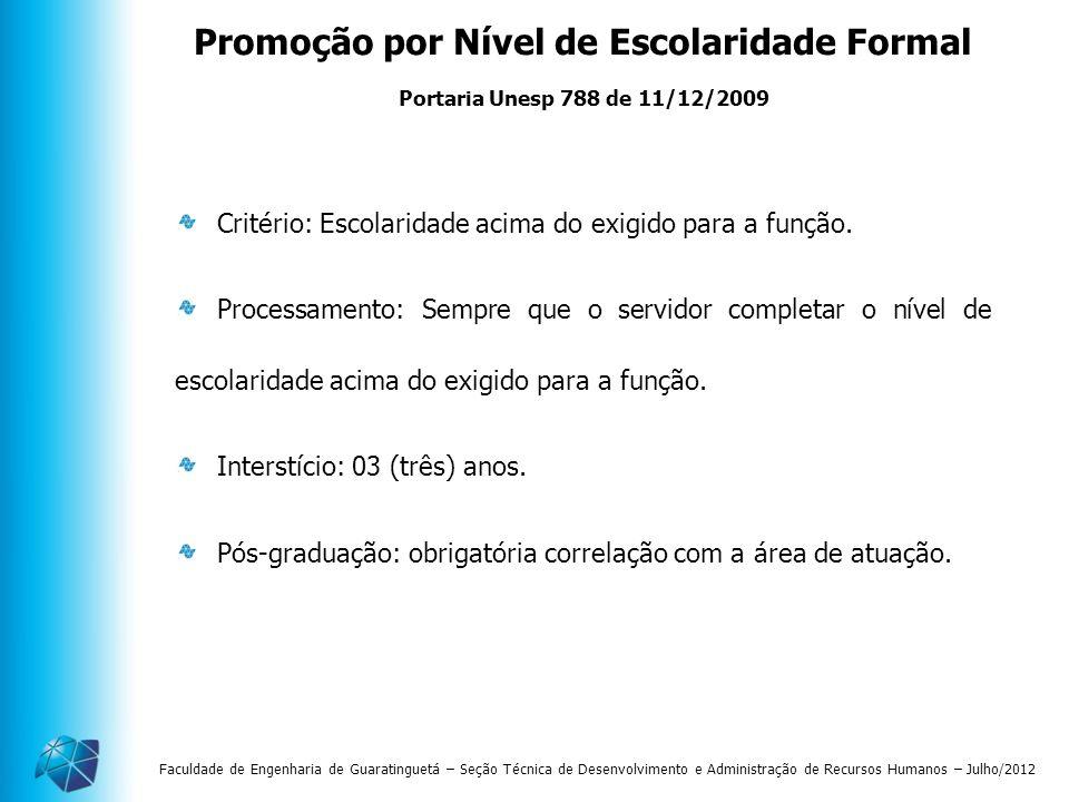Promoção por Nível de Escolaridade Formal