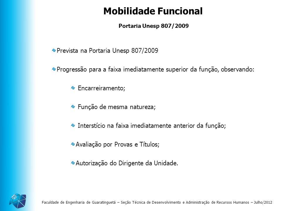 Mobilidade Funcional Prevista na Portaria Unesp 807/2009