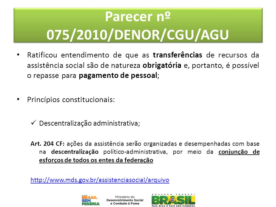 Parecer nº 075/2010/DENOR/CGU/AGU