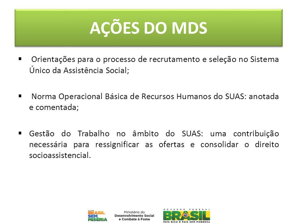 AÇÕES DO MDSOrientações para o processo de recrutamento e seleção no Sistema Único da Assistência Social;