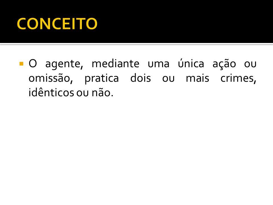 CONCEITOO agente, mediante uma única ação ou omissão, pratica dois ou mais crimes, idênticos ou não.