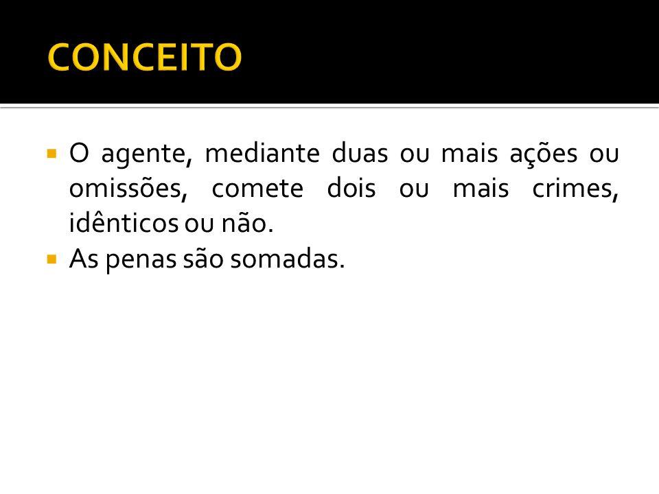 CONCEITOO agente, mediante duas ou mais ações ou omissões, comete dois ou mais crimes, idênticos ou não.