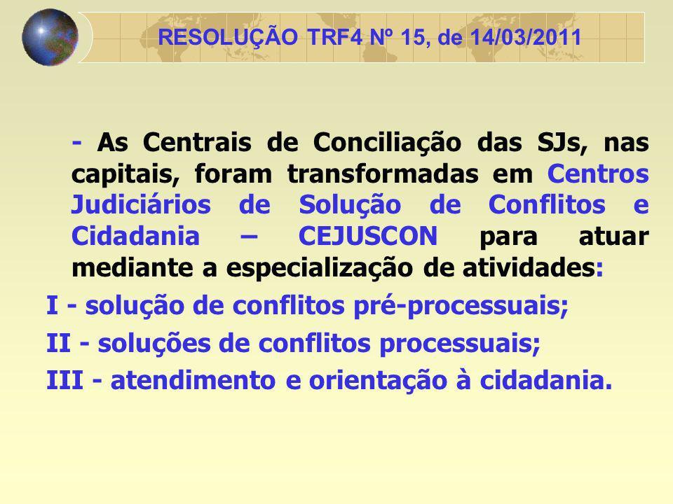 I - solução de conflitos pré-processuais;