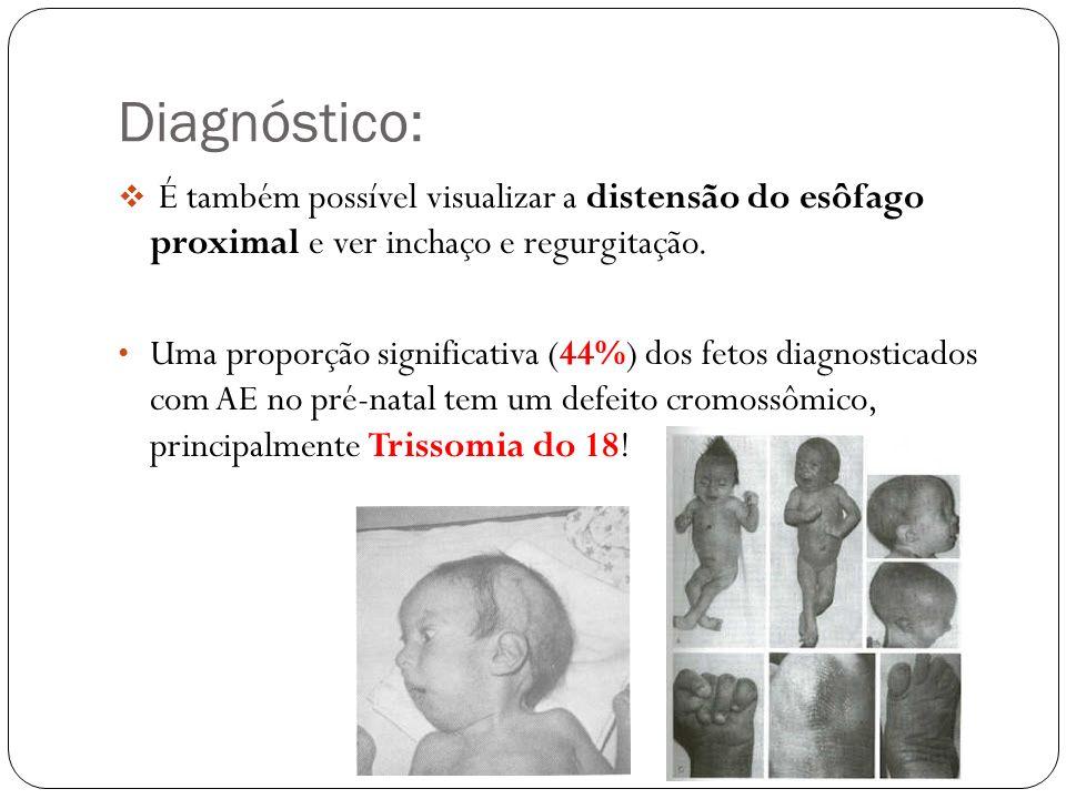 Diagnóstico: É também possível visualizar a distensão do esôfago proximal e ver inchaço e regurgitação.