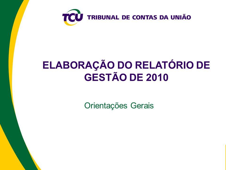 ELABORAÇÃO DO RELATÓRIO DE GESTÃO DE 2010