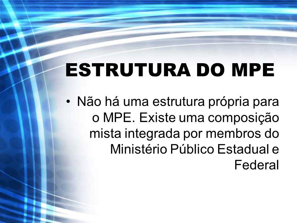 ESTRUTURA DO MPE Não há uma estrutura própria para o MPE.