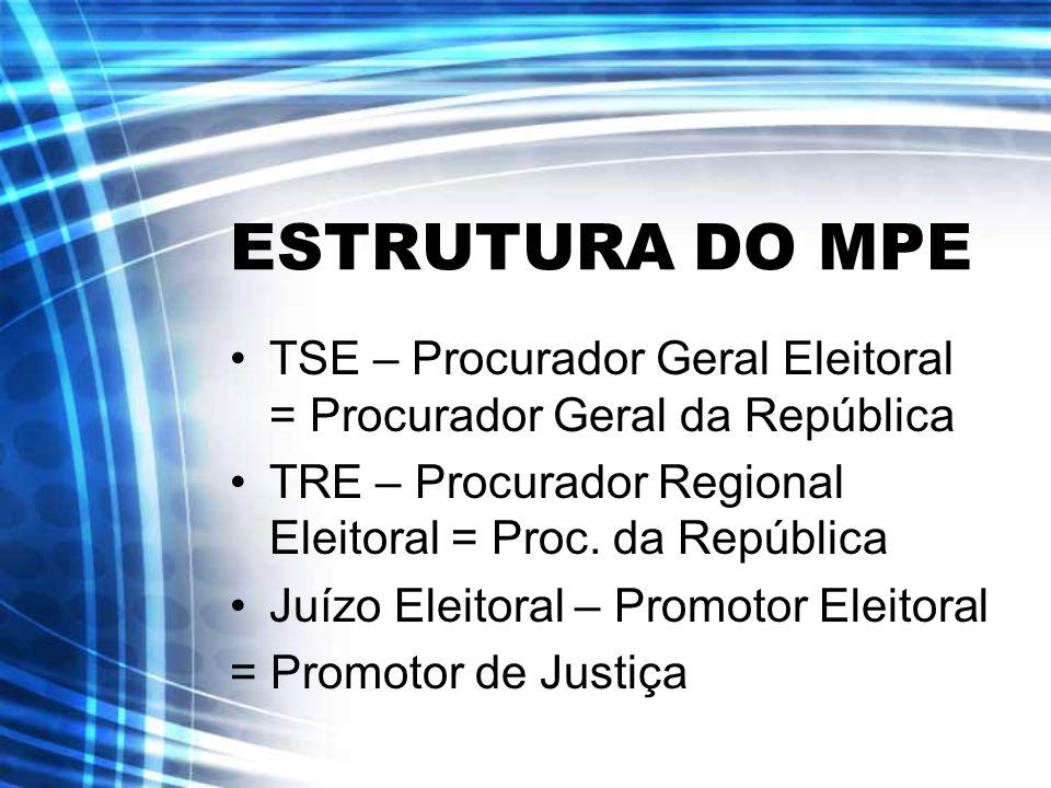 ESTRUTURA DO MPE TSE – Procurador Geral Eleitoral = Procurador Geral da República. TRE – Procurador Regional Eleitoral = Proc. da República.