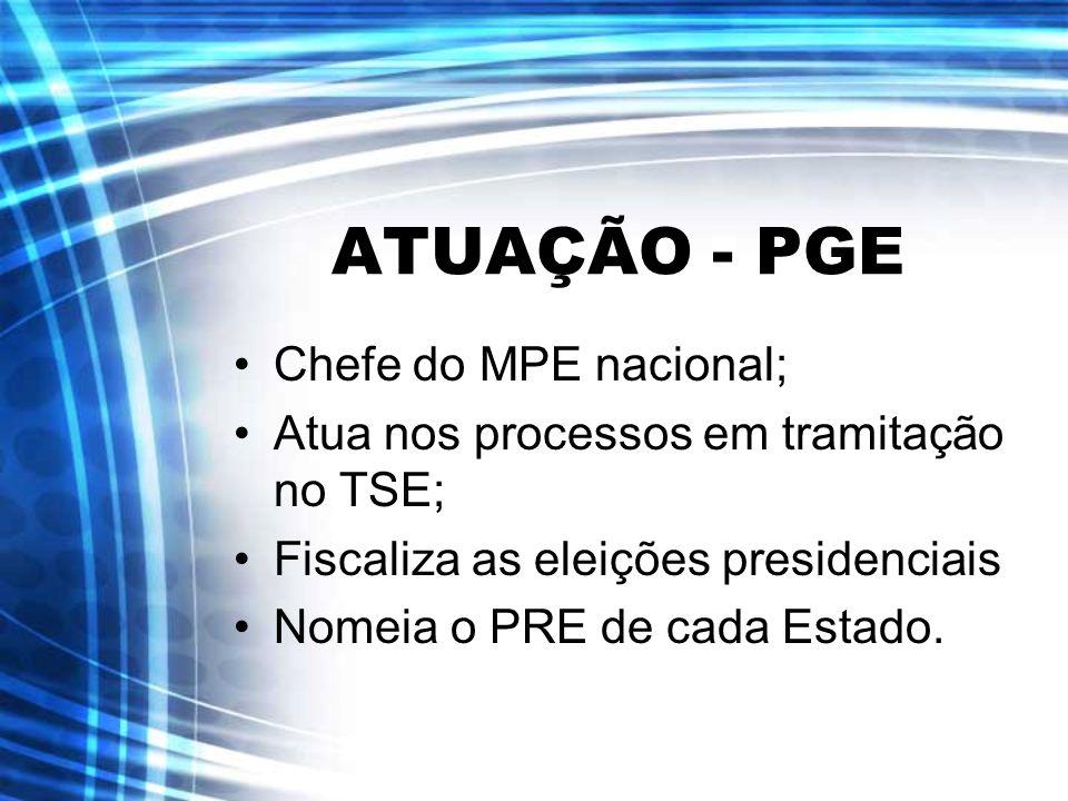 ATUAÇÃO - PGE Chefe do MPE nacional;