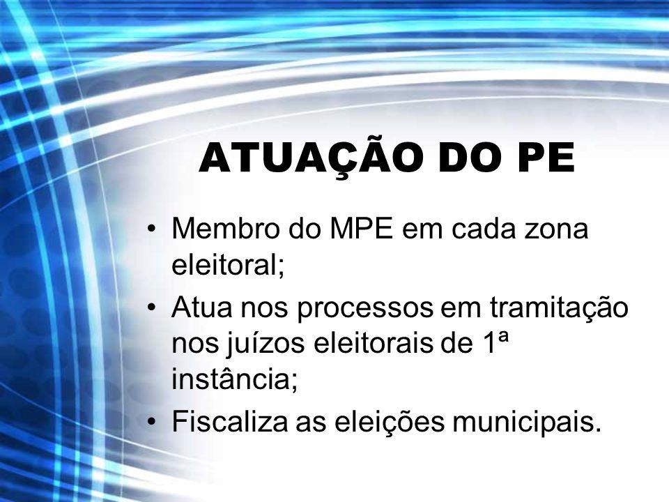 ATUAÇÃO DO PE Membro do MPE em cada zona eleitoral;