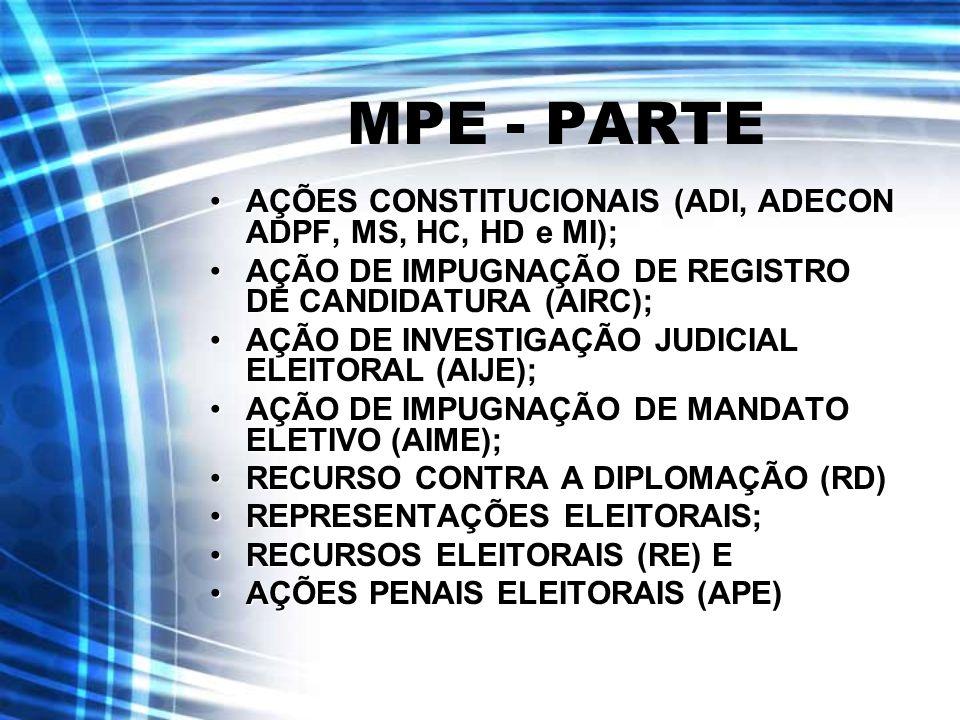 MPE - PARTE AÇÕES CONSTITUCIONAIS (ADI, ADECON ADPF, MS, HC, HD e MI);