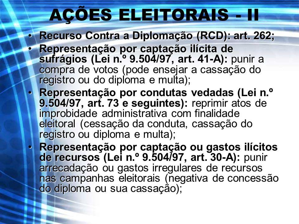 AÇÕES ELEITORAIS - II Recurso Contra a Diplomação (RCD): art. 262;