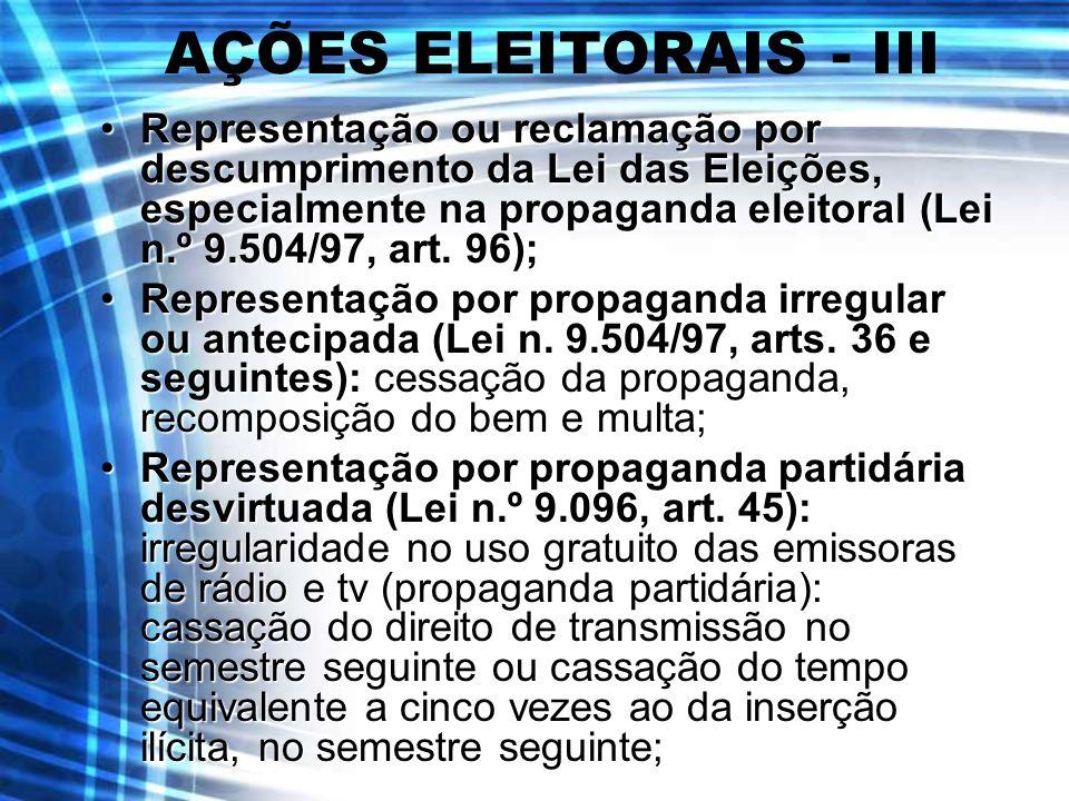 AÇÕES ELEITORAIS - III