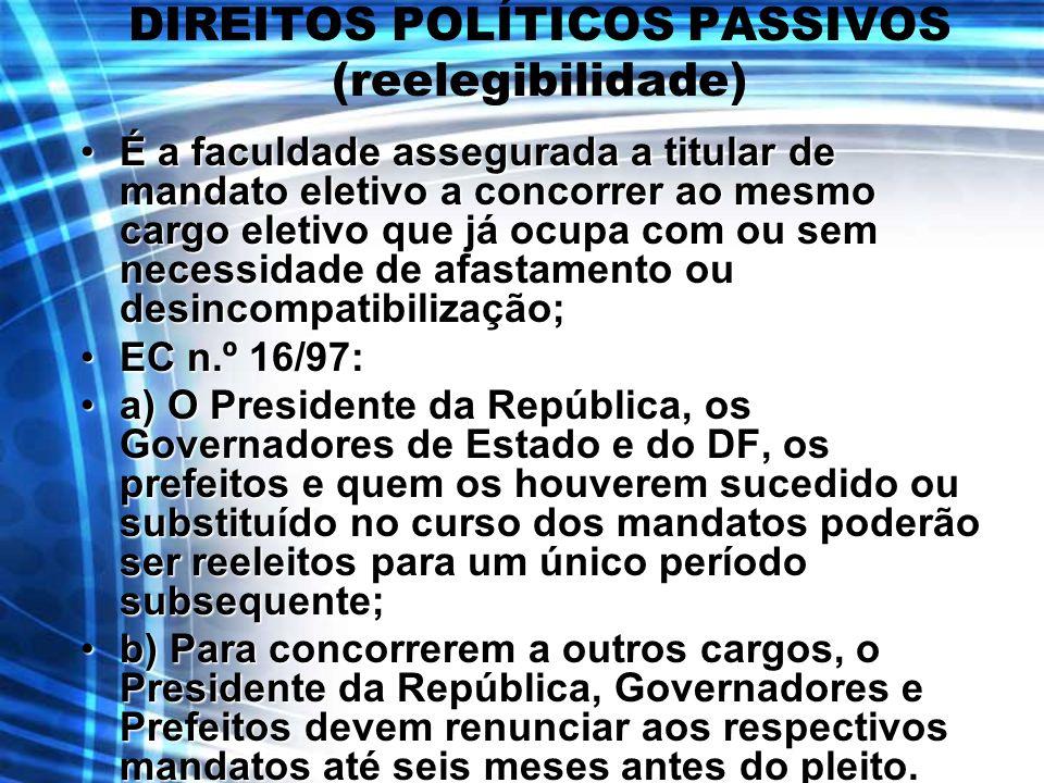 DIREITOS POLÍTICOS PASSIVOS (reelegibilidade)