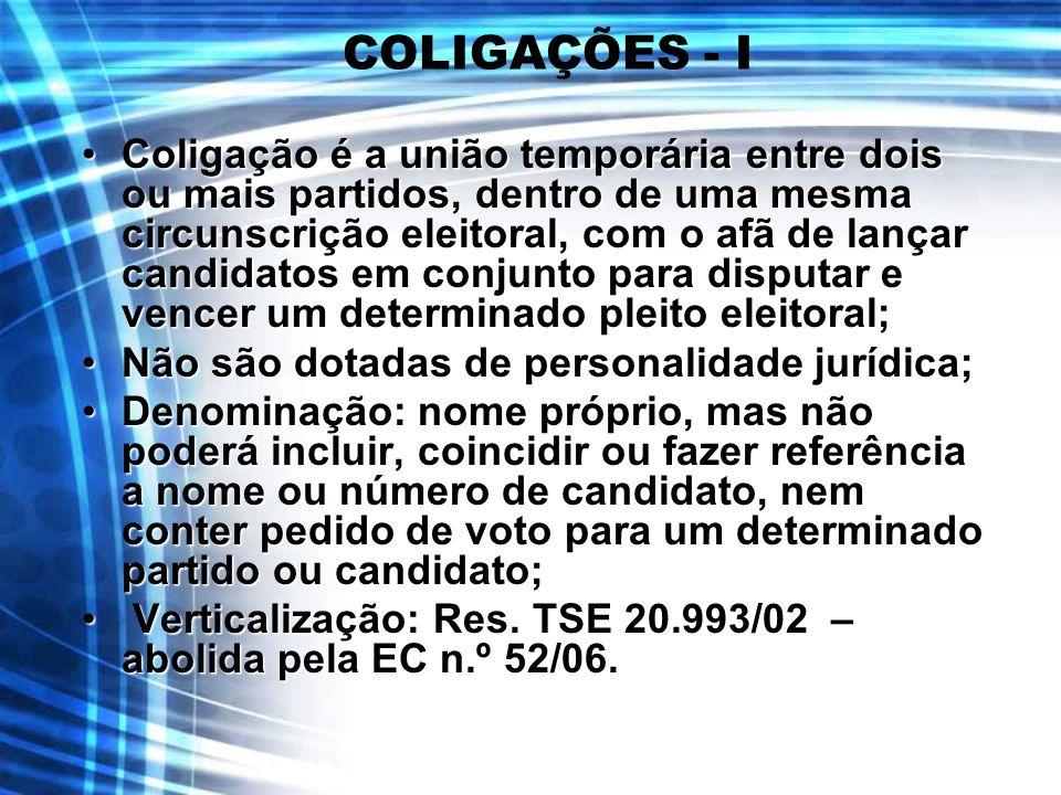 COLIGAÇÕES - I