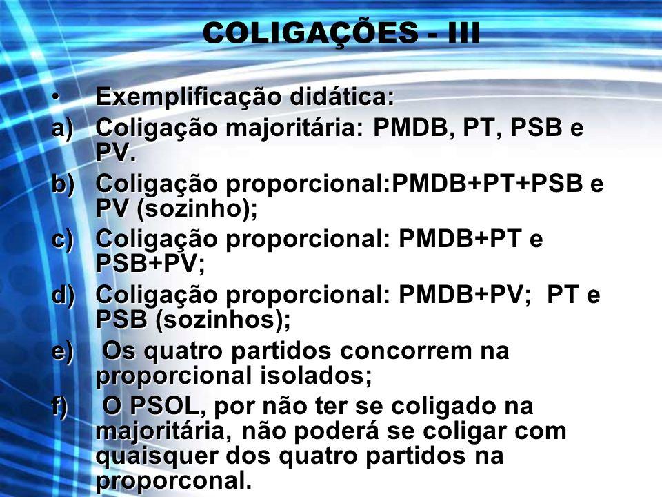 COLIGAÇÕES - III Exemplificação didática: