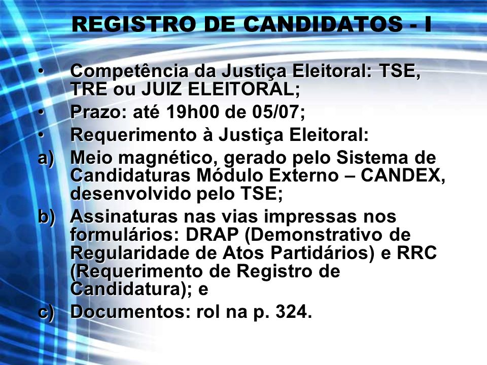 REGISTRO DE CANDIDATOS - I