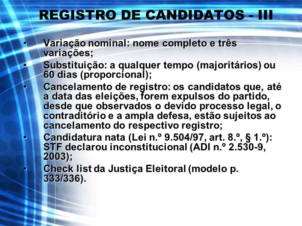REGISTRO DE CANDIDATOS - III