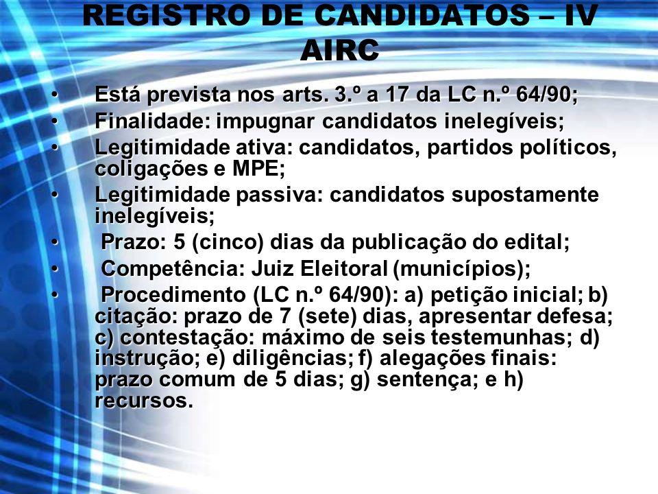REGISTRO DE CANDIDATOS – IV AIRC