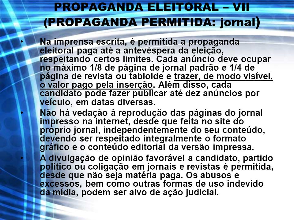 PROPAGANDA ELEITORAL – VII (PROPAGANDA PERMITIDA: jornal)