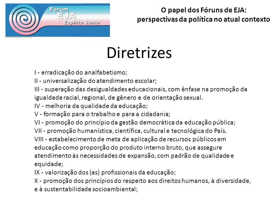 Diretrizes I - erradicação do analfabetismo;