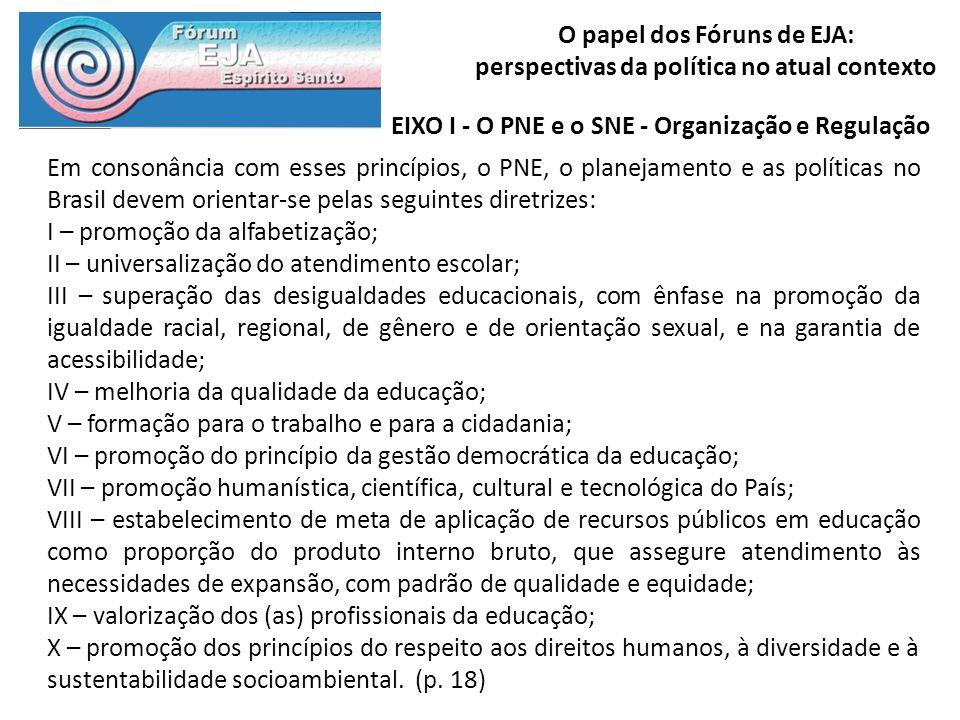 EIXO I - O PNE e o SNE - Organização e Regulação
