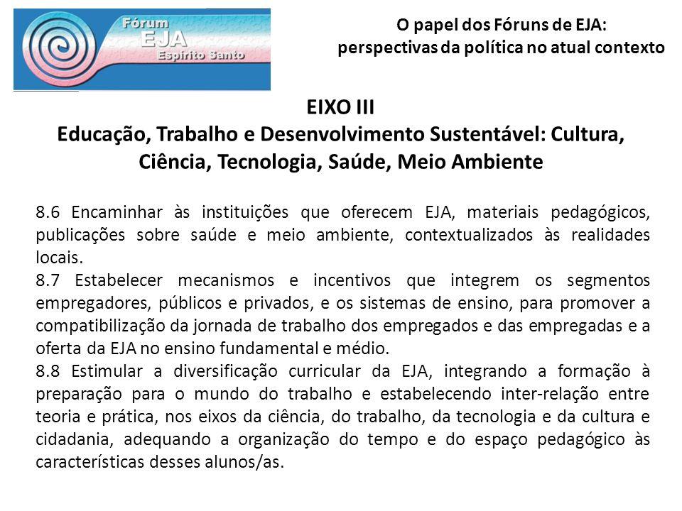 EIXO III Educação, Trabalho e Desenvolvimento Sustentável: Cultura, Ciência, Tecnologia, Saúde, Meio Ambiente.