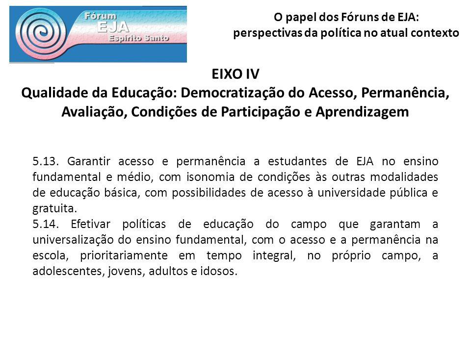 EIXO IV Qualidade da Educação: Democratização do Acesso, Permanência, Avaliação, Condições de Participação e Aprendizagem.
