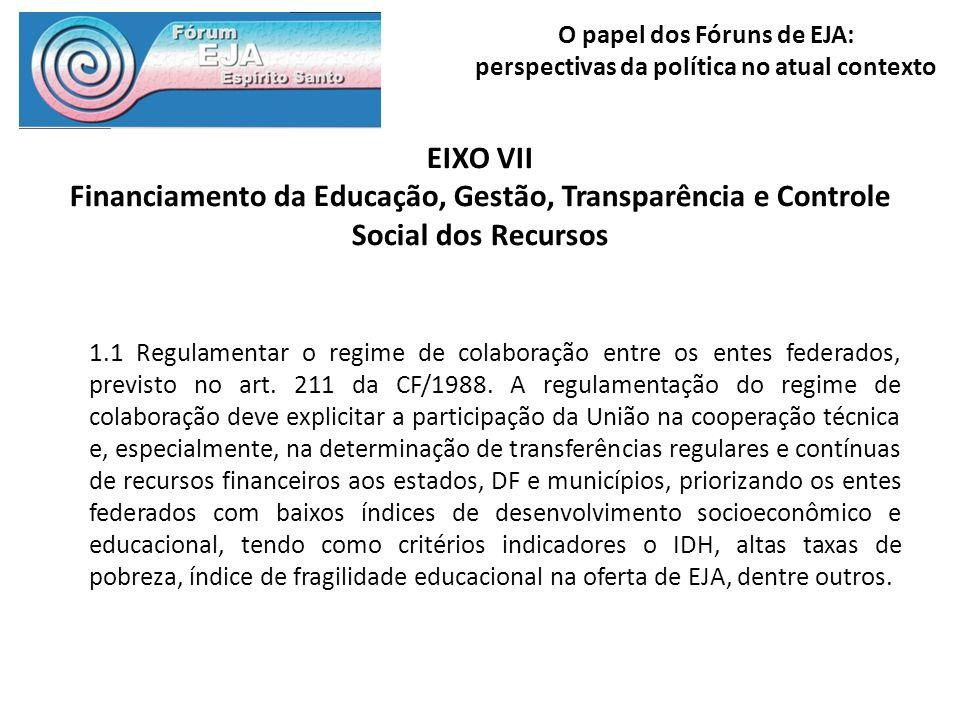 EIXO VII Financiamento da Educação, Gestão, Transparência e Controle Social dos Recursos.