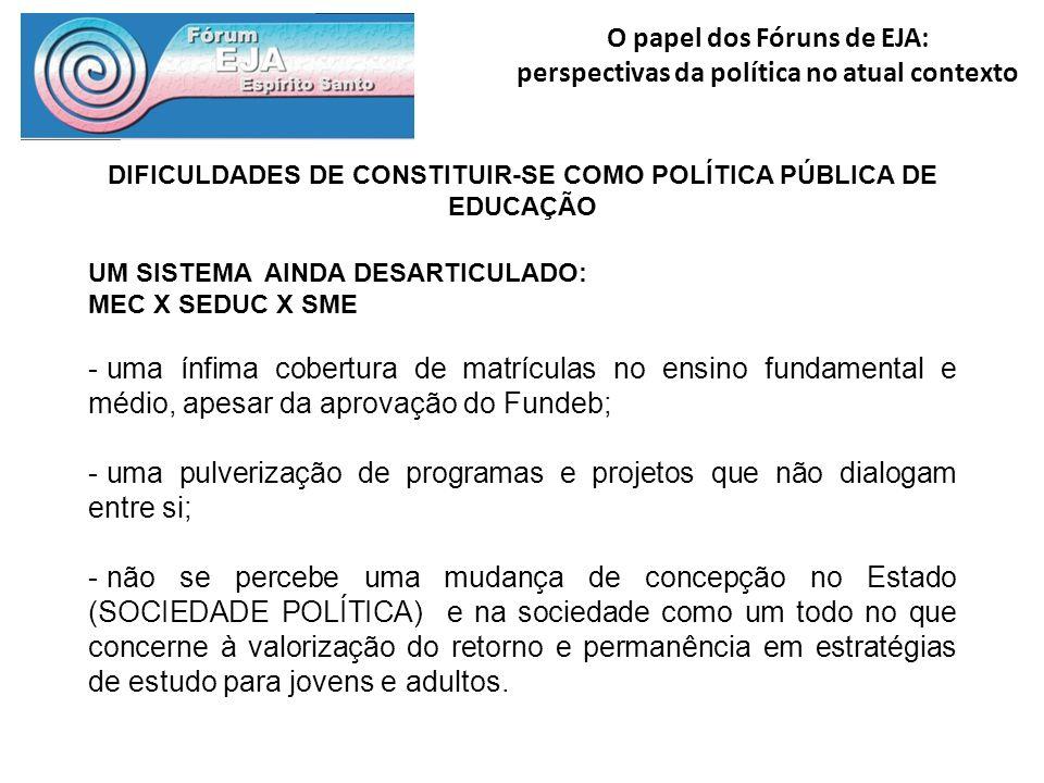 DIFICULDADES DE CONSTITUIR-SE COMO POLÍTICA PÚBLICA DE EDUCAÇÃO