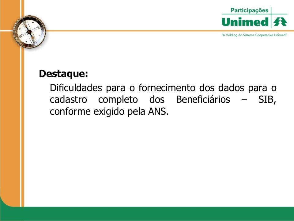 Destaque:Dificuldades para o fornecimento dos dados para o cadastro completo dos Beneficiários – SIB, conforme exigido pela ANS.