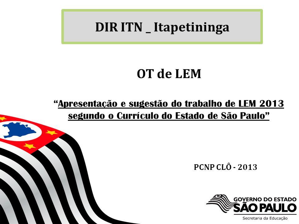 DIR ITN _ Itapetininga OT de LEM PCNP CLÔ - 2013