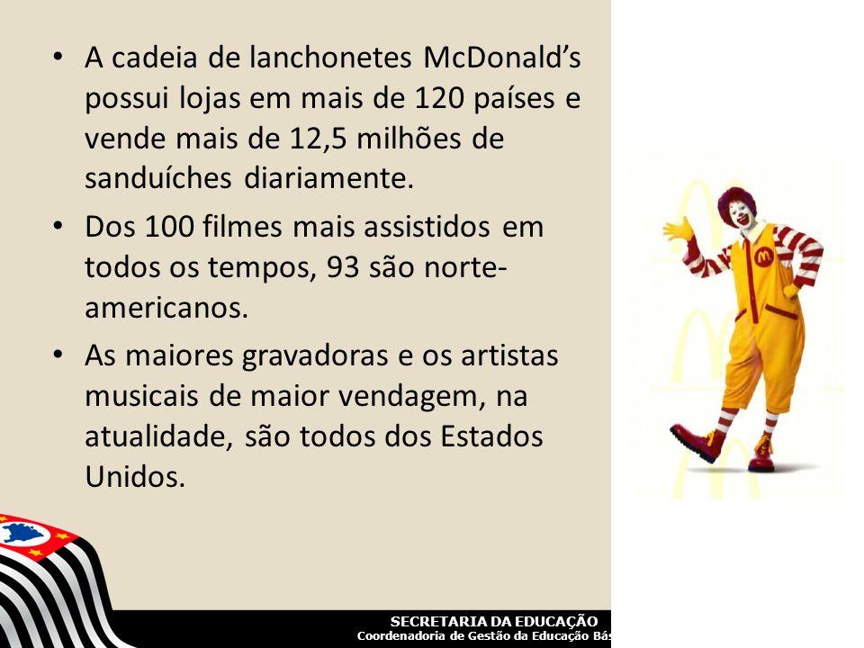 A cadeia de lanchonetes McDonald's possui lojas em mais de 120 países e vende mais de 12,5 milhões de sanduíches diariamente.
