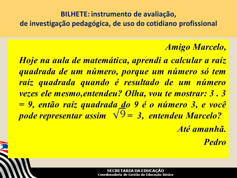 BILHETE: instrumento de avaliação, de investigação pedagógica, de uso do cotidiano profissional